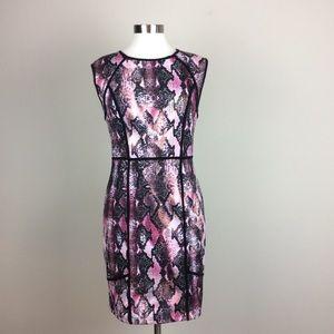 Jennifer Lopez pink snake print sheath dress